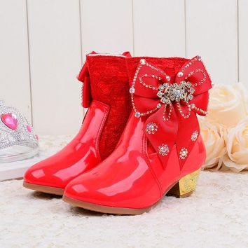 2018 Girls Princess High-Heeled Snow Boots with Butterfly & Plush, Mid-Calf, Glitter Lace  PU Leather Party shoes  pink  red