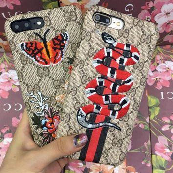 2018 Original GUCCI : Snake Embroidery New iphone 6 6s 6plus 6s-plus 7 7plus iPhone Phone Cover Case Shell