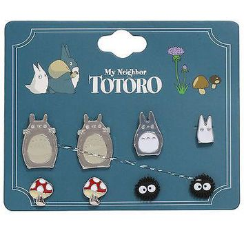Licensed cool Studio Ghibli My Neighbor Totoro Earrings 4 Pair Pack Soot Sprites Mushroom NEW