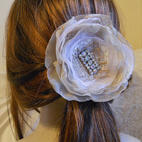 Bridal Flower Hair Pin, Vintage Style Hair Piece embellished with lace, burlap and  vintage rhinestone setting in metal.