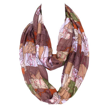 World Map Printing Collar Women Polyester Loop Scarves Fashion Design Voile Roop Scarf 6 Colors Choose!