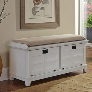 Home Styles Arts and Crafts Upholstered Entryway Bench