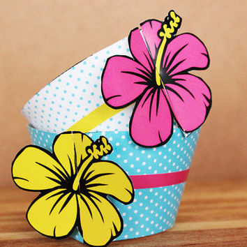 Pink, Blue, and Yellow Hibiscus 3D Cupcake Wrappers - DIY printable party supplies – floral wraps for a birthday or luau - INSTANT DOWNLOAD