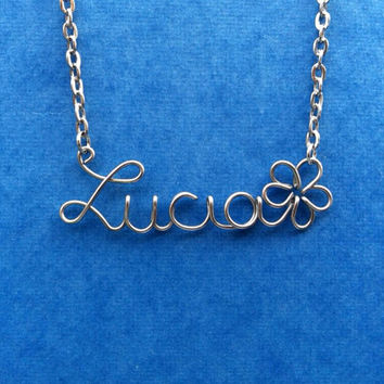 Personalized Wire Name Necklace with Flower