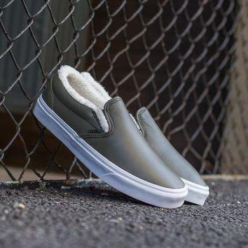 spbest Vans Leather Sherpa Slip-On VA38F7QTQ
