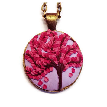 Tree of Life necklace Clay charm Cherry blossom Polymer clay Christmas gift Purple necklace Bohemian pendant Statement jewelry Gift idea