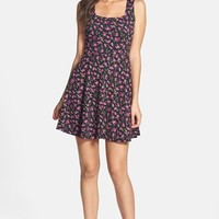 Soprano Floral Textured Skater Dress (Juniors)