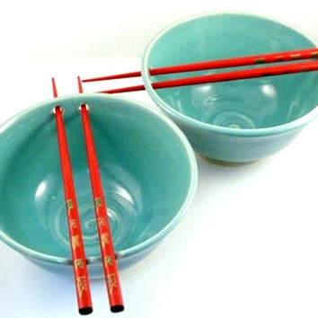Two Aquamarine Blue Pottery Noodle Bowls IN STOCK / Stoneware Rice Bowls with Chopsticks - great couples gift