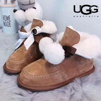UGG new tide brand women's winter plus fluffy ball ribbon snow boots