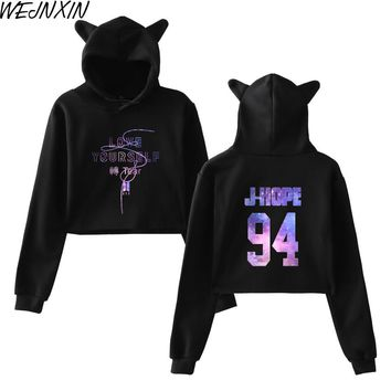 KPOP BTS Bangtan Boys Army WEJNXIN  Love Yourself Turn Tear Women Cat Hood Hoodies  Loose Girl Sweatshirt Night Sky Name Print Streetwear Pullover AT_89_10
