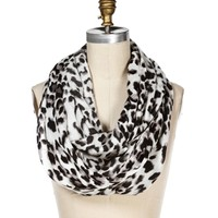 White Leopard Print Infinity Scarf