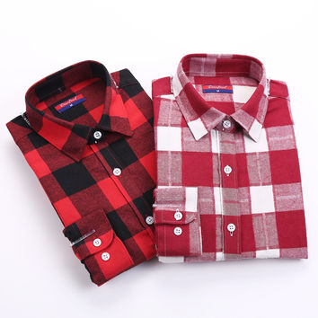 Brand Winter Blouse Plaid Shirt Women Chemisier Femme Long Sleeve Womens Flannel Shirts  Women Tops and Blouses 2015 New Fashion