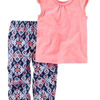 2-Piece Embroidered Chambray Tunic & Printed Capri Legging Set