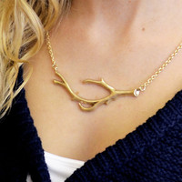 Witch Hazel Matte Gold Branch Necklace