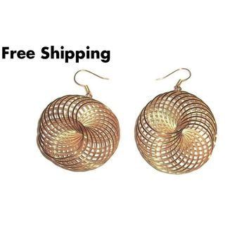 "Swirl Wire Gold Tone 2"" Drop / Dangle Fashion Earrings"