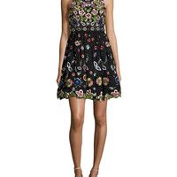 Alice + Olivia Talulah Embroidered Racerback Sleeveless Cocktail Dress