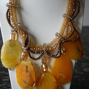 Divine Handcrafted Crystal Chunky Yellow Agate Gemstone Necklace