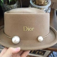 """Dior"" Temperament Fashion Pearl Crimping Jazz Cap Women Woolen Flat Top Hat"