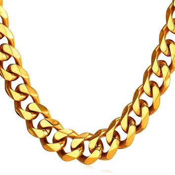 Men 18K Yellow Gold/Black Gun Plated Stainless Steel Cuban Curb Chain Necklace,5 Length 18-30 Inches,3mm 6mm 9mm 12mm