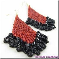 Handmade Beaded Earrings Seed Bead Beadwork in Red and Black