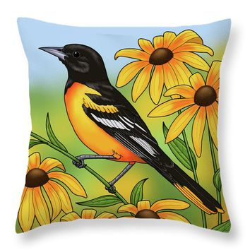 Maryland State Bird Oriole And Daisy Flower Throw Pillow