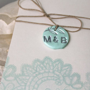 Wedding Favor or invitation tags - Initals or Monogram - Customized Colors