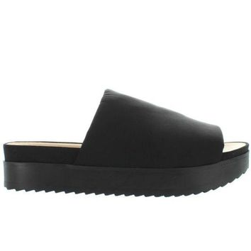 Wanted Gelato   Black Nylon Platform Slide Sandal