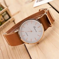 Mens Hight Quality Cowhide Strap Watch Womens Retro Casual Sports Watches + Beautiful Gift Box