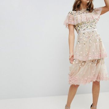 Needle & Thread Tiered Midi Dress with Embroidery and Lace Detail at asos.com