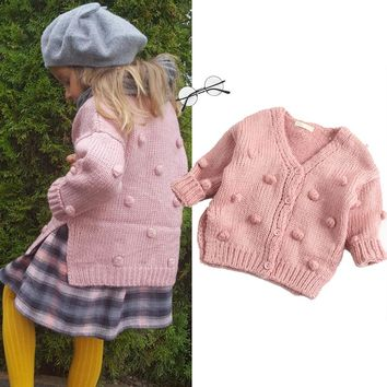 Ball Thick Girl Sweater Cute Baby Girl Coat Kids Winter Clothes Cardigan Sweater Girls Girl Winter Clothes 0-3Y Jacket Cardigan