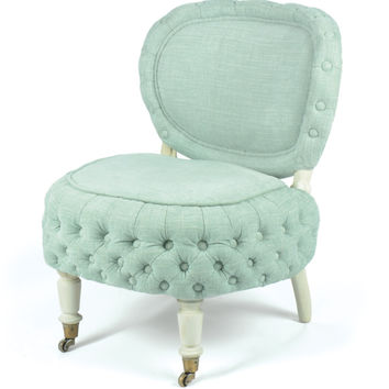 Diana Tufted Upholstered Turquoise Chair