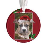 Christmas Pitbull puppy round ornament