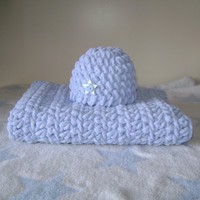 Crochet Chunky Mini Blanket and Hat Set -Newborn Baby -  Light Blue - Ready to Ship