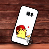 Cute Pikachu Wearing Red Hat Pokemon - Samsung Galaxy S7 S6 S5 Note 7 Cases & Covers