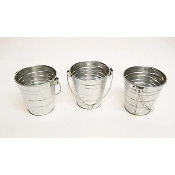 3 pc Galvanized Bucket w/ Handle 1 Qt Garden Wedding Planter Floral pail bkt128