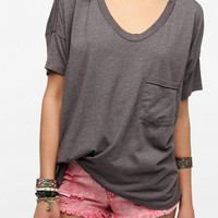 Urban Outfitters - Skargorn Oversized V-Neck Tee - Heather Grey