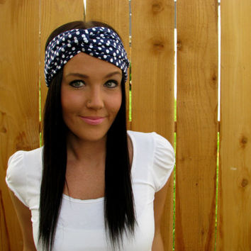 Navy Blue & White Polka dot Stretch Twist Jersey Knit Cotton Turban Headband Hair Band Wrap Fashion Hair Girl Woman Accessories - Adjustable