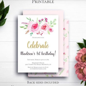 Girl First Birthday Invitation, Birthday Party, Kids Birthday, 1st Birthday, Pink and Gold, Personalized Invitation Template, Watercolor