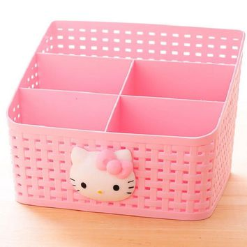 Hello Kitty Desk Storage Box Desktop Organizer Multipurpose Storage Basket Box Office Home L Size
