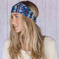 BLUE Aztec Headband Wide Aztec Inspired Headband Royal Blue Cotton Wide Head Wrap