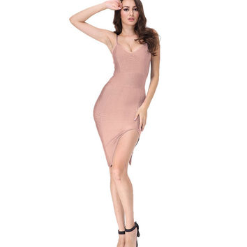 Sleek Split Mini Beige Bandage Dress