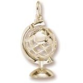 Globe 3D W Stand Charm In Yellow Gold