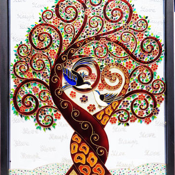 "Tree of love art 17""x21"" Love tree Tree of life art Glass painting Wall decor"