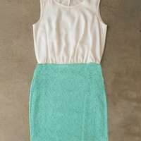 Buttons & Lace Dress in Mint [5056] - $36.00 : Vintage Inspired Clothing & Affordable Dresses, deloom | Modern. Vintage. Crafted.