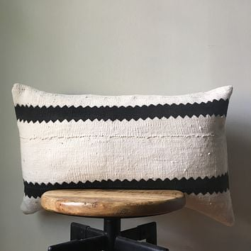 Black & White Tribal Stripe African Mudcloth Pillow Cover - Custom Made