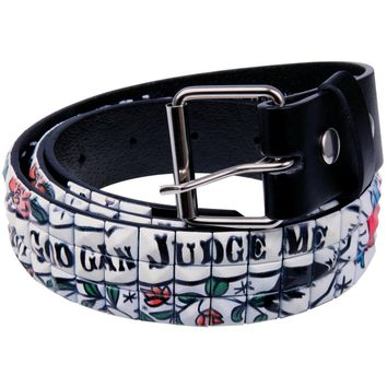 Only God Can Judge Me Studded Leather Belt