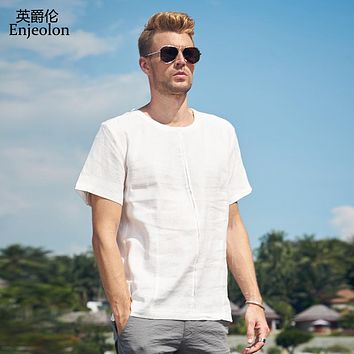 t shirt men 2 color solid tee shirts linen clothing male short sleeve clothes casual clothing
