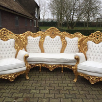 Antique Italian Baroque 3 Piece Throne Chair Bergere Sofa Settee Refinish Gold Leaf Gild White Leather Tufed Crystal Button Rococo Louis XVI