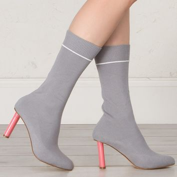 Sock Booties in Black and Grey
