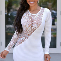 White Lace Accent Long Sleeve Bodycon Mini Dress